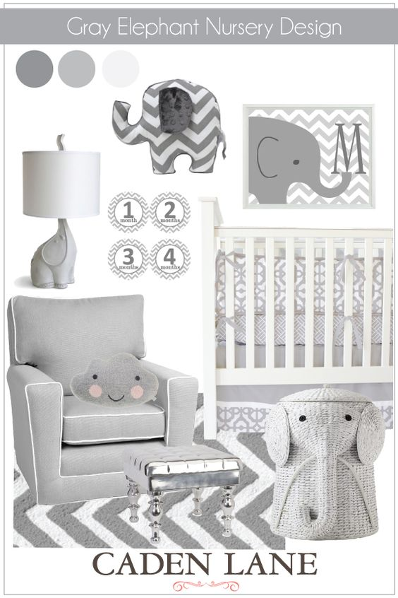 Just the right amount of elephants in this adorable nursery! The Caden Lane Modern Baby Bedding goes perfectly with it!