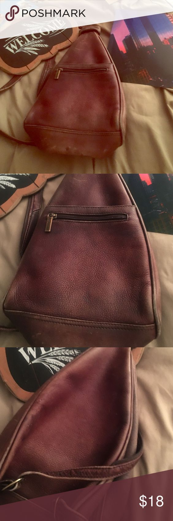 Beautiful pre-loved leather backpack Yes it's been used by me and I loved every minute of it still I'm looking for another one it's vintage baby. Brand Le Donne Vintage Bags Backpacks