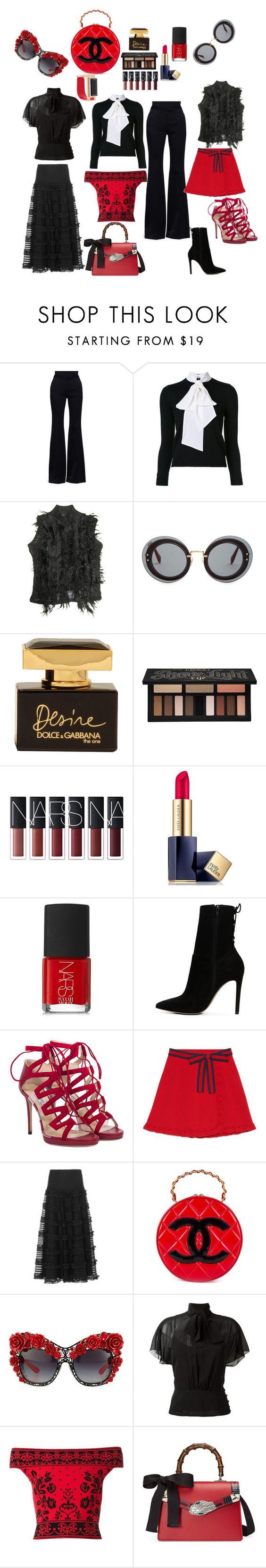"""💋"" by artisans ❤ liked on Polyvore featuring Alexander McQueen, Alice + Olivia, Plein Sud, Miu Miu, Dolce&Gabbana, Kat Von D, Estée Lauder, NARS Cosmetics, ALDO and Jimmy Choo"