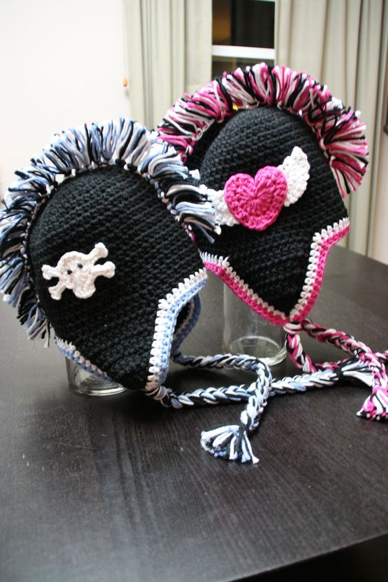 Knit Mohawk Hat Pattern : skull , skulls , mohawk , mohawks , hat , black , pink , crochet , crocheted ...