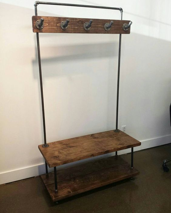 Industrial Pipe And Wood Entry Coat Rack Bench Entrance Bench Foyer Bench Seat Rustic