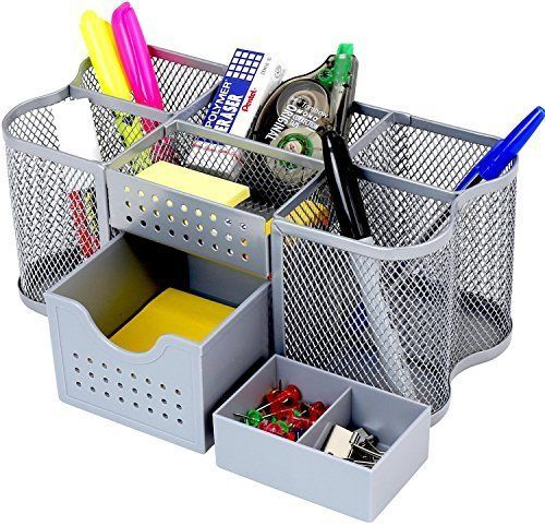 Decobros Desk Supplies Organizer Caddy Silver Quality Decobrothers Office Supplies Diy Desk Supplies Office Desk Supplies