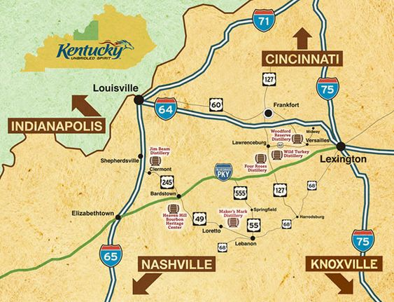 This is a cool road trip. The Bourbon Trail. Wild Turkey, Jim Beam, Marker's Mark, Woodford Reserve, Four Roses