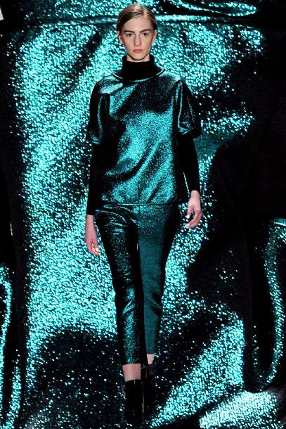 In a season filled with over-the-top embellishment, looks rendered in sparkly fabric — often in sumptuous, saturated colors — are an obvious bedfellow. Marc Jacobs embraced shine at both his namesake label and Louis Vuitton, while other designers toyed with neo-disco lurex separates, and even a jumpsuit.