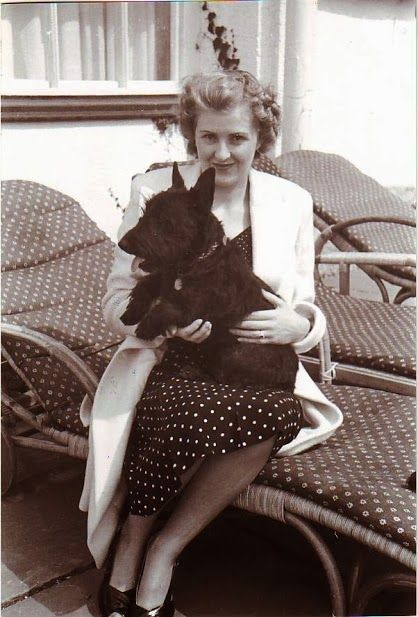 Eva Braun and her Scottie. I guess dogs had no race or creed? I thought for sure that a German Sheppard was The Aryan Canine of choice.