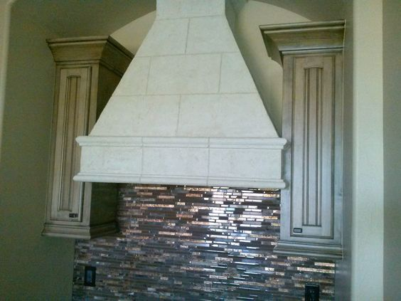 cooktop venthood with cast stone