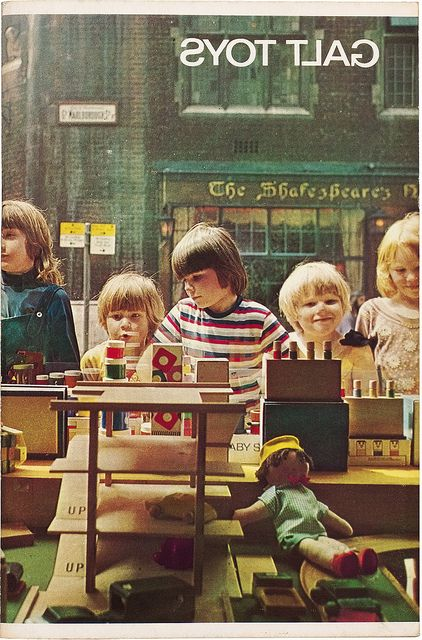A photograph of children peering into the window of Galt Toys' shop front in London, 1968.