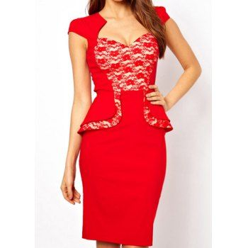 Lace Splicing Sexy Style Short Sleeves Polyester Ruffles Women's Sexy Dress, RED, M in Sexy Dresses | DressLily.com