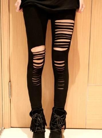 ripped black leggings (i have a soft spot for pre-distressed things)