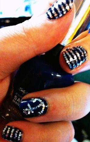 Glitter Nautical Nails