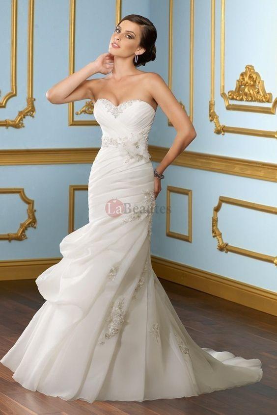 2012 Collection Trumpet Mermaid Sweetheart Sweep Brush Train Organza  wedding dress