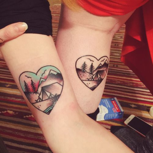 camping tattoos, to show how much we love getting lost together. done by silje of scapegoat tattoo, PDX.