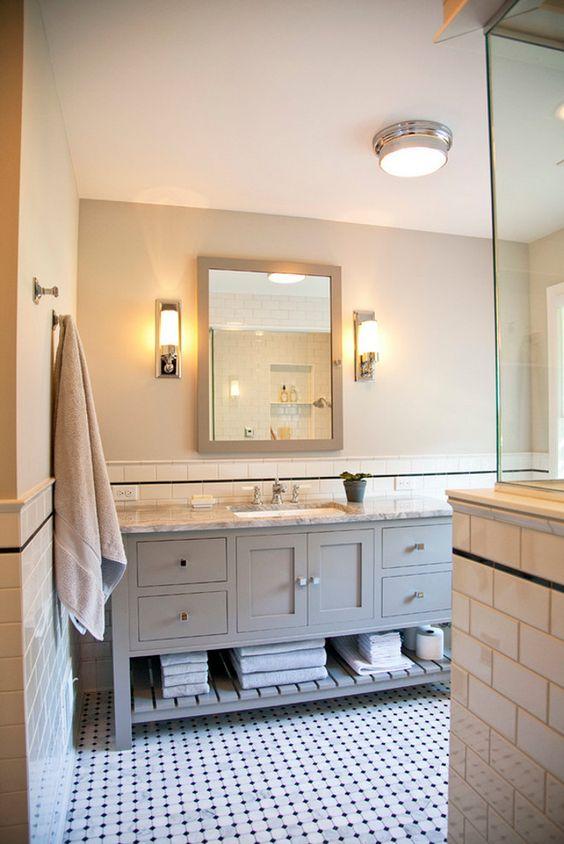 Classic bathroom reno classic bathroom reno ideas for Bathroom half wall tile
