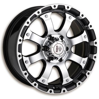 """Black Iron Vigilante - Gloss black and macined.  Available in 17"""" and 18"""".  Starting at $192.99.  http://www.blackironwheels.ca/  #wheel #rim #truck #suv"""