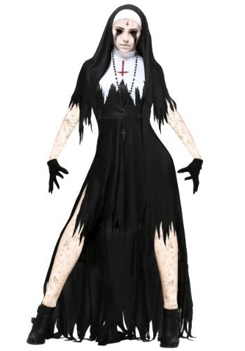 This women's tattered dreadful nun costume adds a dose of horror to a classic…