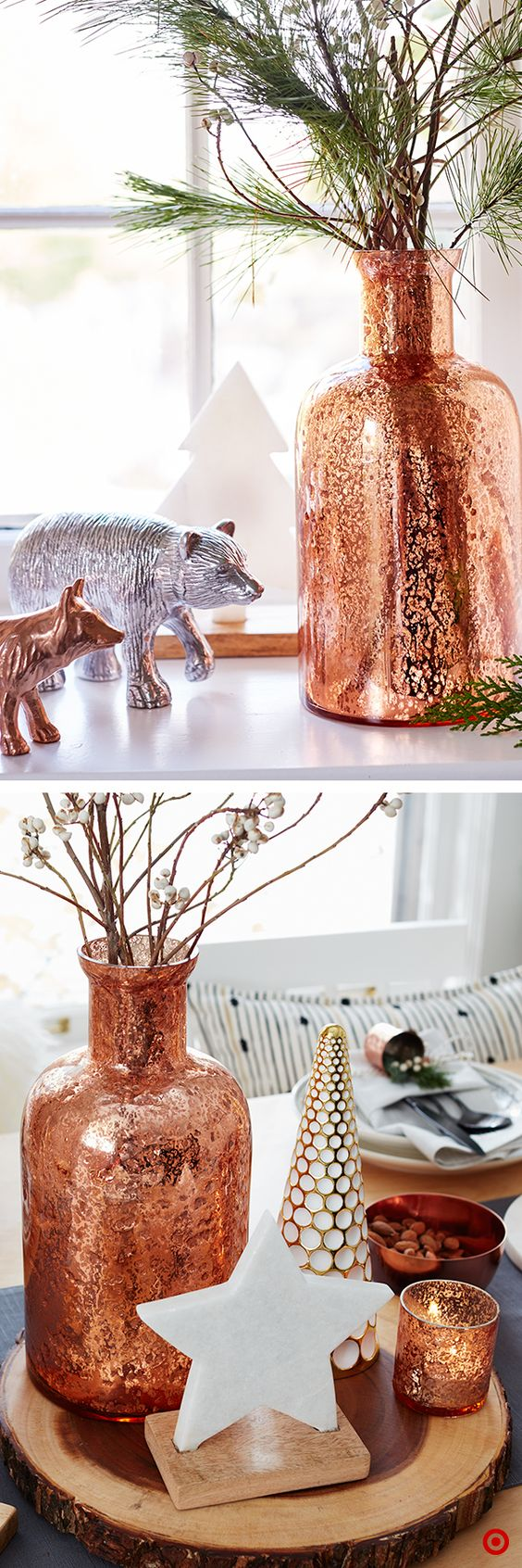 The apothecary-inspired style of this mercury-glass copper jug lends a vintage look that fits right into the holiday season. Add natural sprigs of pine and berries, and its simple pop of shine will make any small space feel more celebratory. Or, use it in a centerpiece—just pick 3 items in varying sizes, shapes and materials, like a mix of woods and metals. Bonus: the glass reflects the twinkling candles or lights, further adding to a party's cozy ambiance.