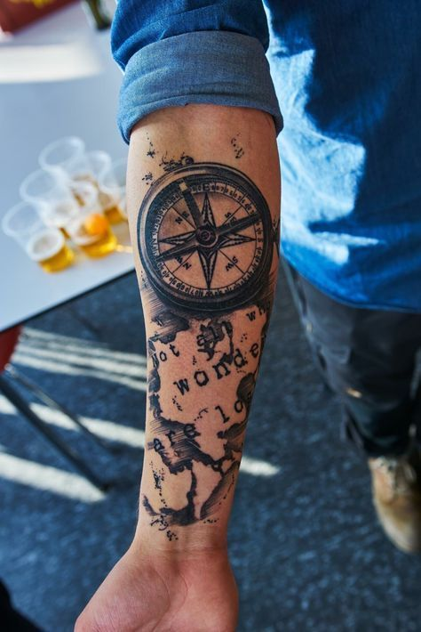 Not All Those Who Wander Are Lost Tattoo Compass M Not All Those Who Wander Are Lost Tumblr Tattooideasforguys Forearm Tattoos Forearm Tattoo Men Cool Forearm Tattoos