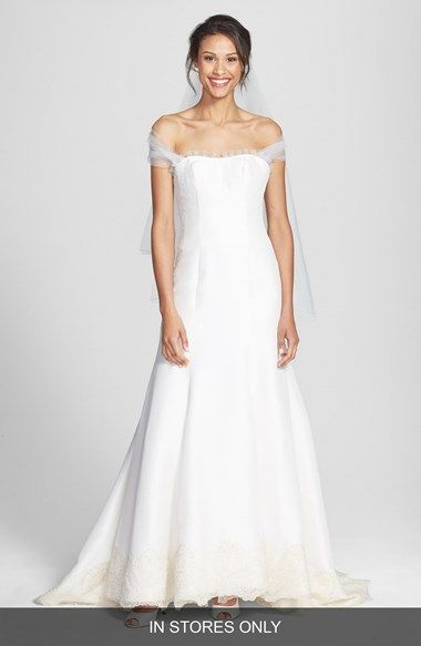 OLIA ZAVOZINA Removable Illusion Halter Lace Trim Silk Shantung Gown (In Stores Only) available at #Nordstrom