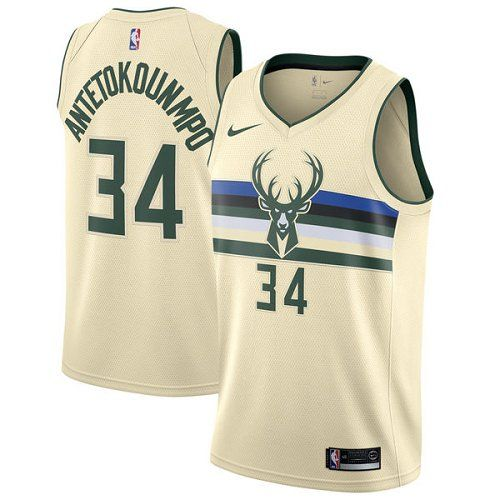 Bucks Mens Giannis Antetokounmpo 34 Basketball Jersey Shirt Cream Milwaukee Bucks Jersey Jersey Outfit