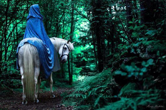 Blue Cloaked Faerie on White horste