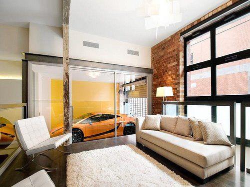 A living room for car lovers display space for the lamborghini    matome006   Pinterest   Lamborghini  Living rooms and DisplayA living room for car lovers display space for the lamborghini  . Garage Living Room. Home Design Ideas