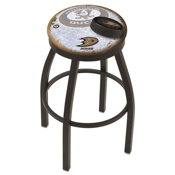 Anaheim Ducks NHL D2 Black Flat Ring Bar Stool. Available in 25-inch and 30-inch seat heights. Visit SportsFansPlus.com for details.
