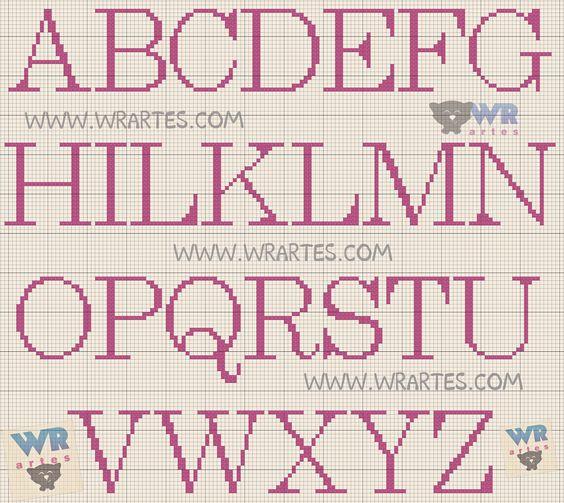 Gráfico alfabeto ponto cruz. Visite meu blog.