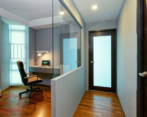 The Odd Shaped Home Office Is Enclosed With A Half Glass Wall