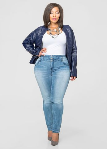 Three Button High Waist Skinny Jean