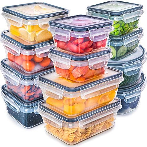 Fullstar 12 Pack Food Storage Containers With Lids Black Plastic Food Containers With Lids Plastic Containers With Lids Airtight Leak Proof Easy Snap Lo In 2020 Food Containers