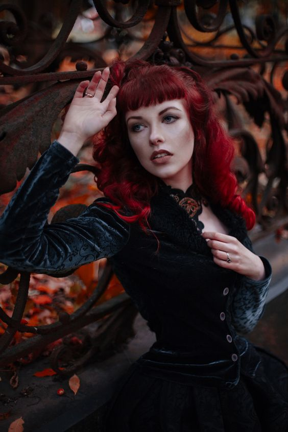 Model - RedSelena Redhead red hair gothic cemetery witch wiccan victorian