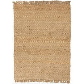 "Hand-woven jute rug with fringed ends.   Product: RugConstruction Material: JuteColor: Taupe and tanFeatures:  Textured0.4"" Pile heightHand-woven Eco-friendlyNote: Please be aware that actual colors may vary from those shown on your screen. Accent rugs may also not show the entire pattern that the corresponding area rugs have.Cleaning and Care: Vacuum regularly. Do not steam clean or wet. Avoid direct sunlight. Professional cleaning is recommended."
