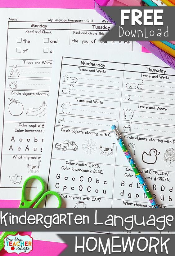 FREE Kindergarten Language Homework - Common Core Aligned- with answer keys - 2 Weeks FREE!