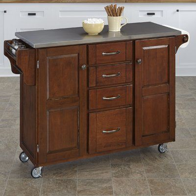 August Grove Adelle A Cart Kitchen Island With Stainless Steel Top Base Finish Cherry Portable Kitchen Island Kitchen Island With Granite Top Kitchen Island With Butcher Block Top