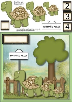 Lovely Tortoise ally on Craftsuprint designed by Ceredwyn Macrae - A lovely card to make and give to any child on there birthday Lovely Tortoise ally three slow moving tortoises in tortoise ally a lovely card has three age tags and a blank one also has a blank greeting tags for you to choose the sentiment, - Now available for download!