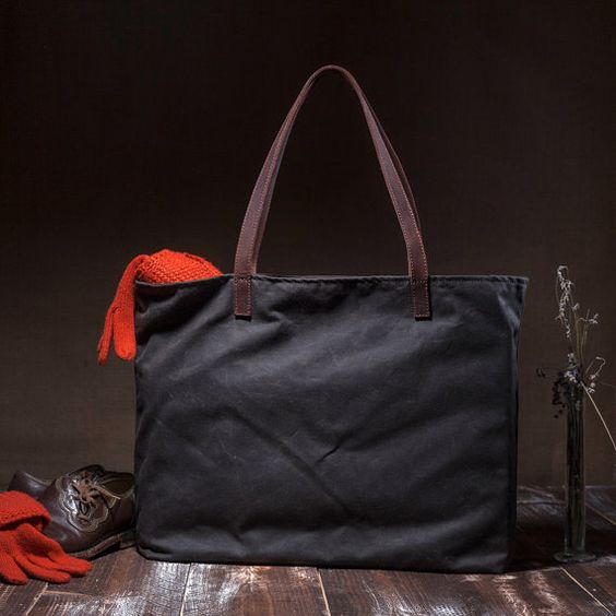 Waxed tote bag - large canvas bag - with inside pocket - going out bag - waterproof lining