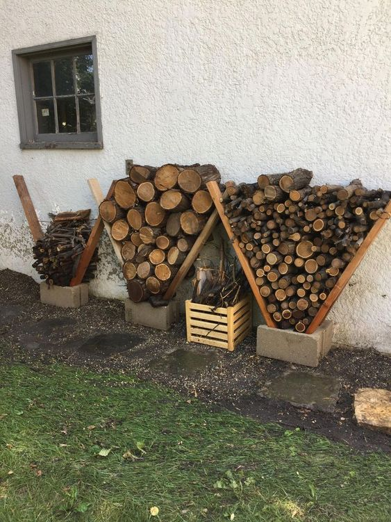firewood storage made of two woods in a concrete block #fireWoodStorage #firewoodrack #firewood #firewoodideas #organization #diy
