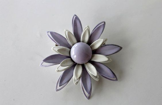 Vintage Lavender and White Brooch Enamel by purrfectstitchers, $9.00