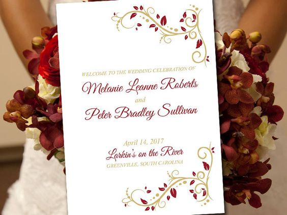 "Fold Over Wedding Program Template Download - Burgundy Gold Wedding Program ""Splendid Love"" Order of Service - Half Fold Program by PaintTheDayDesigns on Etsy"