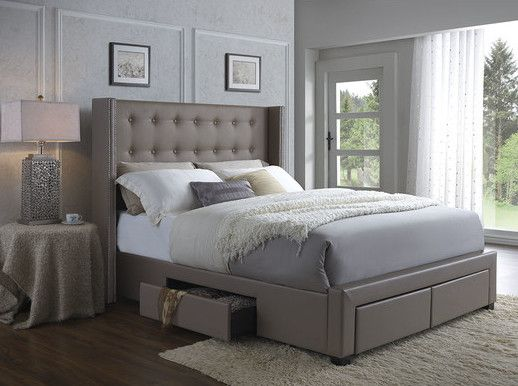 25 incredible queen sized beds with storage drawers for Queen upholstered bed with drawers