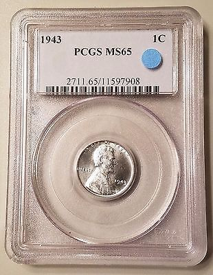 1943 1C Steel Lincoln Wheat Cent PCGS MS65 Gem Mint State Penny Coin