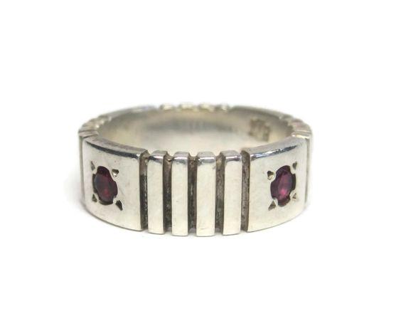 Vintage Custom Sterling Ruby Wedding Band Ring Size 6 Richard Tawtel - pinned by pin4etsy.com