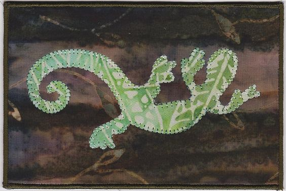 Cameleon Fabric Postcard by zizzybob on Etsy, $7.00
