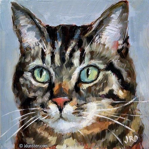 "Daily Paintworks - ""Classic Tabby"" - Original Fine Art for Sale - © J. Dunster"