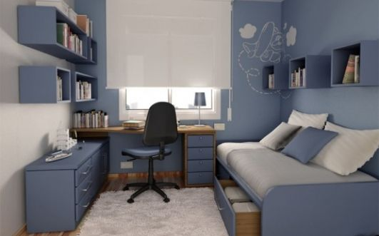 This is a girl's room, but the desk made me think that this decor would suit an office very well.