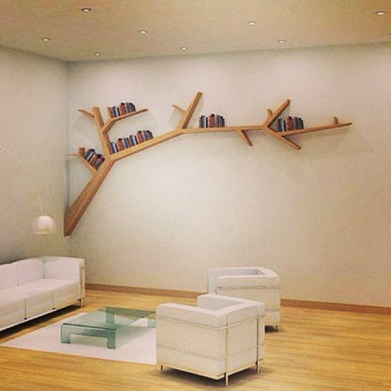 Tree Bookshelf IDEA #7billapp #tree #wood #branch #home #wall #bookshelf #book #books #shelf #shelves