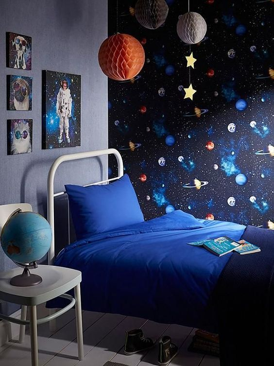 To The Moon Garland Boys Bedroom Wallpaper Space Themed Room Space Themed Bedroom