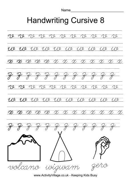 Handwriting practice cursive 8   *♣* Smart Kids Printables ...