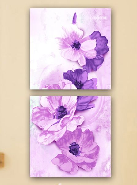 Quadri artistici con fiori viola 50x50 cm per 2 pannelli for Quadri di fiori