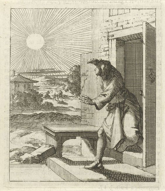 Jan Luyken | Man beschermt zijn ogen tegen de zon wanneer hij naar buiten loopt, Jan Luyken, wed. Pieter Arentsz (II), 1689 |